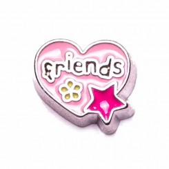 Pink Friends Heart with Flower and Star