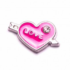 Love Heart with Arrow and Crystal - Pink