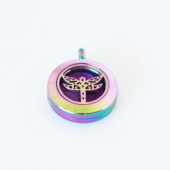 Perfume/Essential Oil Locket - Tiny Dragonfly - Rainbow