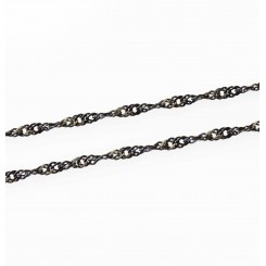 Wave Link Necklace - 23.5 inch (60cm) - Black Tone