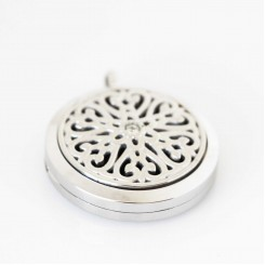 Perfume/Essential Oil Locket - Quilted Hearts - Silver Tone