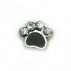 Black Paw Print with Sparkles - Silver Tone