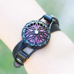 Perfume/Essential Oil Locket - Intricate Wrap Bracelet - Black Tone