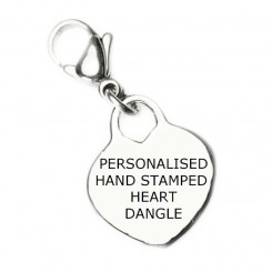 Personalised Hand Stamped Heart Dangle - Click for colour options