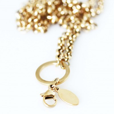 Rolo Necklace - Gold Tone - With Dangle Ring