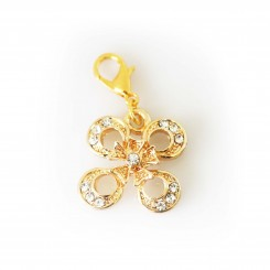 Diamante Four Leaf Clover Dangle - Gold Tone