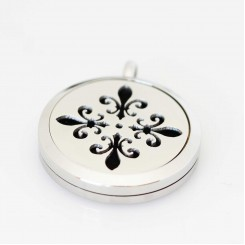Perfume/Essential Oil Locket - Fleur de lis - Silver Tone