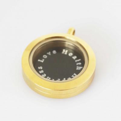 Love Health Happiness - Locket & Plate Set - Small 2.5cm Locket
