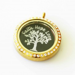 Faith Hope Love - Locket & Plate Set - 3cm Locket