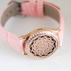 Perfume Watch Bracelet - Pink Band, Rose Gold with Diamante Locket