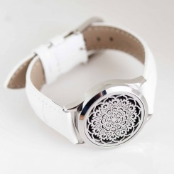 Perfume Watch Bracelet - White Band, Silver Locket
