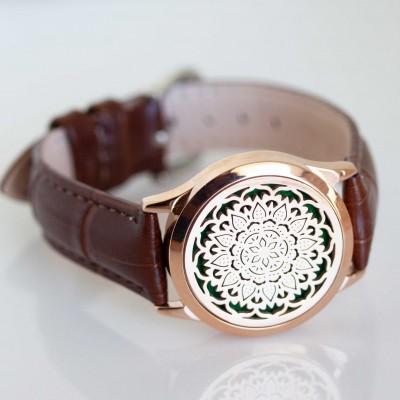 Perfume Watch Bracelet - Brown Band, Rose Gold Locket