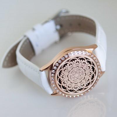 Perfume Watch Bracelet - White Band, Rose Gold with Diamante Locket