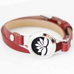 Lotus Flower - Red Wrap Bracelet