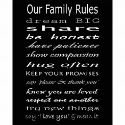 Our Family Rules (jpeg file) 8x10
