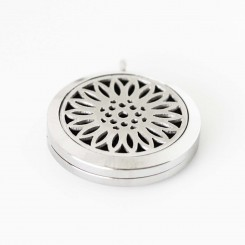 Perfume/Essential Oil Locket - Flower Design - Silver Tone