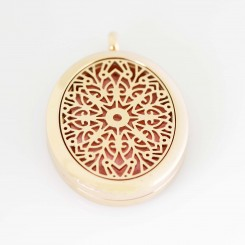 Perfume/Essential Oil Locket - Oval Mandala - Rose Gold Tone