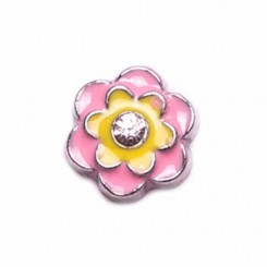 Pink and Yellow Flower with Diamante
