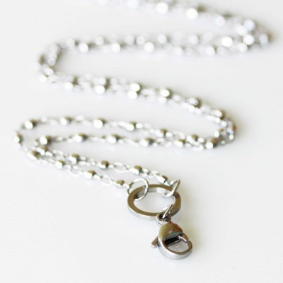 Ball Link Necklace - 28 inch (71cm) Silver Tone