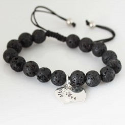Lava Bead Bracelet with Sterling Silver Heart Charm (starts at $55 with 1 heart charm)