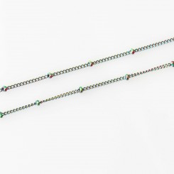 Station Necklace - 17-19 inch adjustable - Rainbow