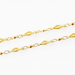 Diamond Link Necklace - 32 inch (80cm) Gold Tone