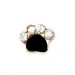 Black Paw Print with Sparkles - Gold Tone