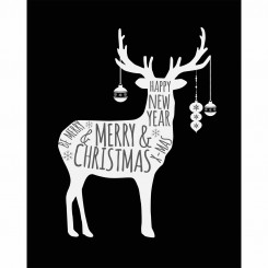 Deer with Baubles Black and White (jpeg file only) 8x10