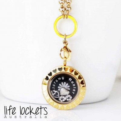 Gold Heart Edge Screw Top Locket - 2.8cm wide
