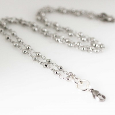 Ball Link Necklace - 24 inch (61cm) Silver Tone