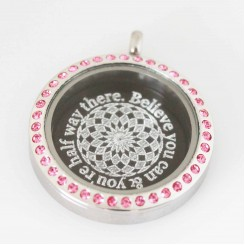 Believe you can & you're half way there - Plate and Locket Set