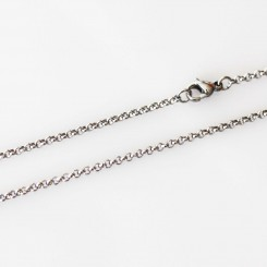 2mm Rolo necklace - 22 inch (56cm) - Silver Tone