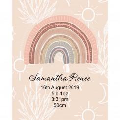 Boho Rainbow Birth Details (JPEG File only) 8x10 inch
