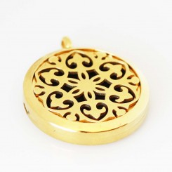 Perfume/Essential Oil Locket - Regal Design - Gold Tone