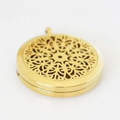 Perfume/Essential Oil Locket - Mandala Design - Gold Tone