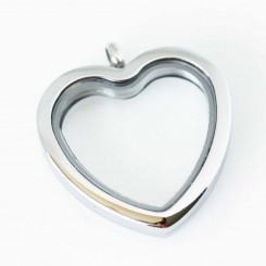 Silver Heart Locket - Tall
