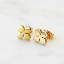 Clover Earrings - Gold Tone