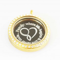 Family: where life begins & love never ends... - Locket and Plate Set - 3cm