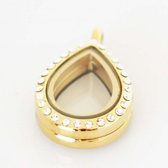Gold Bling Tiny Teardrop Locket