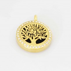 Perfume/Essential Oil Locket - Gold Bling Tree of Life - 2.5cm - Gold Tone