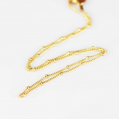Station Necklace - Gold Tone -  18inch (46cm)