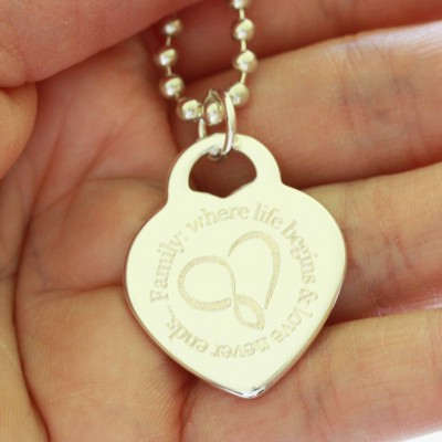Family: where life begins & love never ends - Heart Pendant & Necklace Set