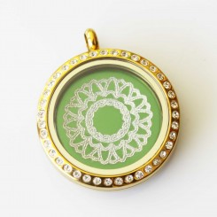 Pretty Mandala - Locket and plate Set - 3cm