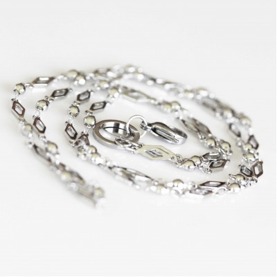 Diamond Link Necklace - 32 inch (80cm) Silver Tone