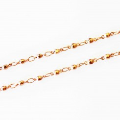 Ball Link Necklace - 28 inches (71cm) Rose Gold Tone