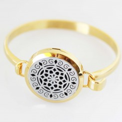 Perfume/Essential Oil Locket - Bangle - Diamond Dreams - Two Tone
