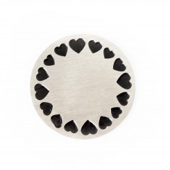 Black Heart Border Plate - Silver Tone