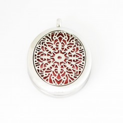 Perfume/Essential Oil Locket - Oval Mandala - Silver Tone
