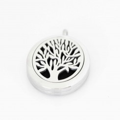 Perfume/Essential Oil Locket - Oval Tree of Life - Silver Tone