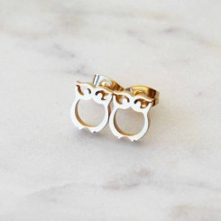 Wise Owl Earrings - Gold Tone